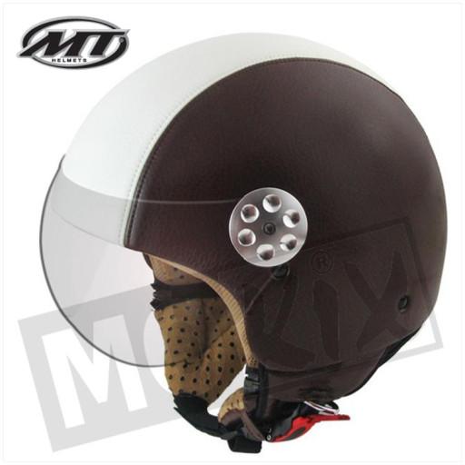 Helm Retro Leer Donker Bruin/Beige
