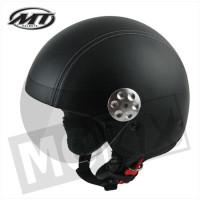 Helm Retro Leer Zwart